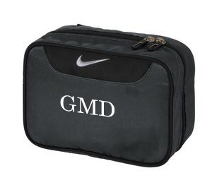 Monogrammed Nike Performance Toiletry Bag www.tinytulip.com Mens Style Monogram with White Font