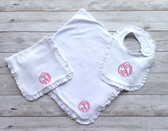 Monogrammed Ruffle Bib, Burp Cloth & Blanket Set www.tinytulip.com Light Pink Master Script Font