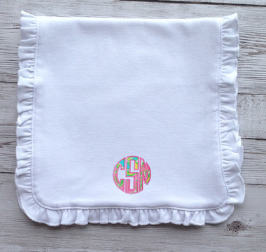 Lilly Pulitzer Monogrammed Ruffle Burp Cloth www.tinytulip.com Chin Chin Fabric with Preppy Pink Thread
