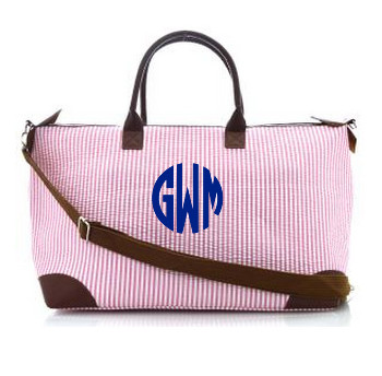 Monogrammed Large Pink Seersucker Tote www.tinytulip.com Navy Circle Font