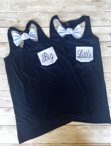 Monogrammed Sorority  Seersucker Pocket Bow Racerback Tank  www.tinytulip.com Navy Tank with Blue Seersucker Fabric