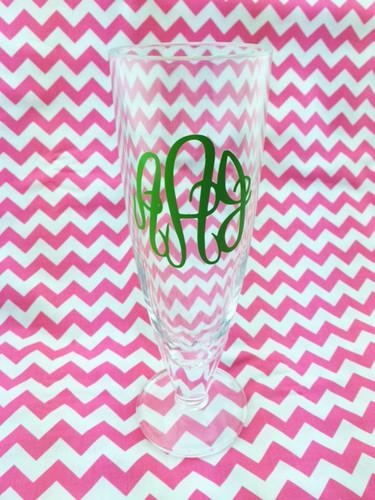 Ladies Monogrammed Acrylic Beer Pilsner www.tinytulip.com