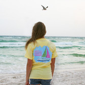 Southern Girl Prep Banana Seersucker Sailboat Short Sleeve Shirt www.tinytulip.com