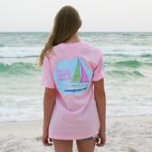 Southern Girl Prep Pink Blossom Seersucker Sailboat Short Sleeve Shirt www.tinytulip.com