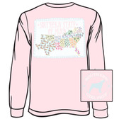 Southern Girl Prep Pink Blossom Southern States Long Sleeve Shirt www.tinytulip.com