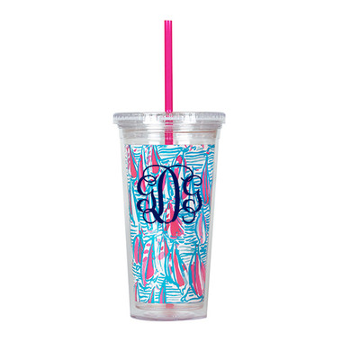 Monogrammed Lilly Pulitzer Red Right Return Acrylic Tumbler with Straw www.tinytulip.com Navy Interlocking Font