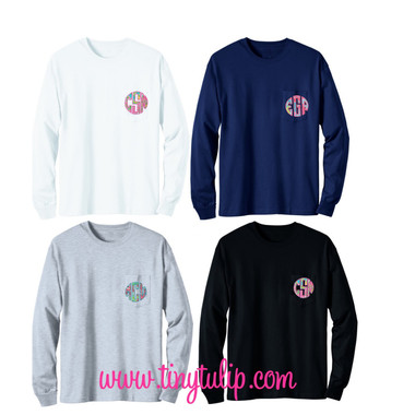 Lilly Pulitzer Long Sleeve Monogrammed Pocket T Shirt www.tinytulip.com