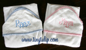 Monogrammed Seersucker Stripe Trim Hooded Towel  www.tinytulip.com Flirty Font