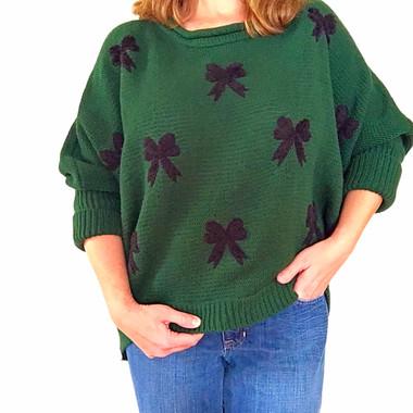Dark Green Bow Sweater www.tinytulip.com