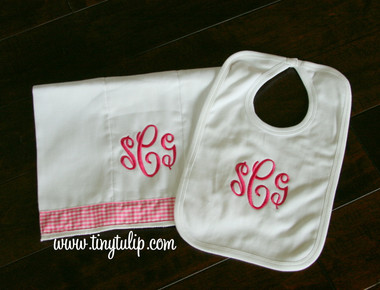 Gift Set - Monogrammed Bib and Burp Cloth  www.tinytulip.com