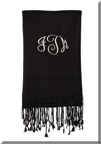 Monogrammed Pashmina Scarf  www.tinytulip.com Black Scarf with White Empire Monogram