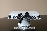 Prissy Plate Round Square Platter ~ Chip & Dip Platter Black with White Polka Dot Ribbon