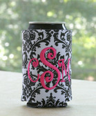 Damask Can Koozie with Hot Pink Curly Monogram