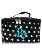 Black Polka Dot with Turquoise Curly Font