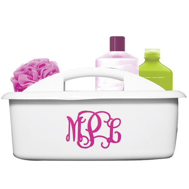 Monogrammed Organizer Caddy ~ Shower Caddy White with Hot Pink Interlocking Font