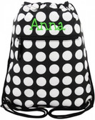 Polka Dot Drawstring Backpack with Lime Green 5th Grader Font
