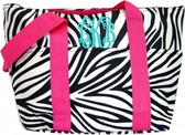 Zebra Lunchbag with Pink Trim & Turquoise Interlocking Font