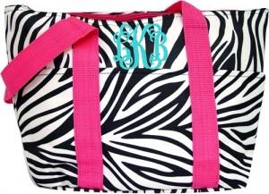 Zebra Lunchbag with Pink Trim & Turquoise Interlocking Font