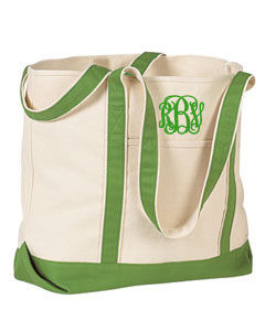 Heavy Duty Canvas Tote in Green Kelly Green Interlocking Font