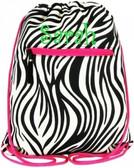 Zebra Drawstring Backpack -Fuchsia Trim  tinytulip.com