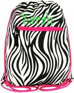 Zebra Drawstring Backpack -Fuchsia Trim  tinytulip.com