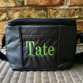 Men's 6 Pack Cooler ~ Lunch Bag   - www.tinytulip.com Lime Green Block Font