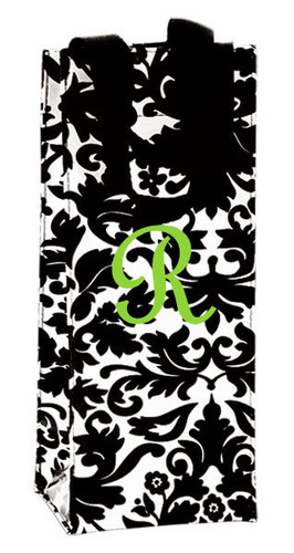 Monogrammed Wine Bottle Bag  - www.tinytulip.com Lime Green French Script Font