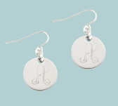 Small Round Engraved French Wire Dangle Earrings