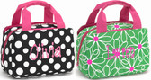 Insulated Lunch Bag Flower or Dots Monogrammed