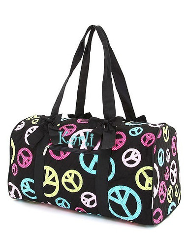 Monogrammed  Peace & Polka Dot Quilted Duffle