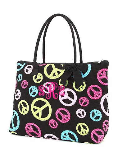 Monogrammed Peace & Polka Dot Quilted Tote