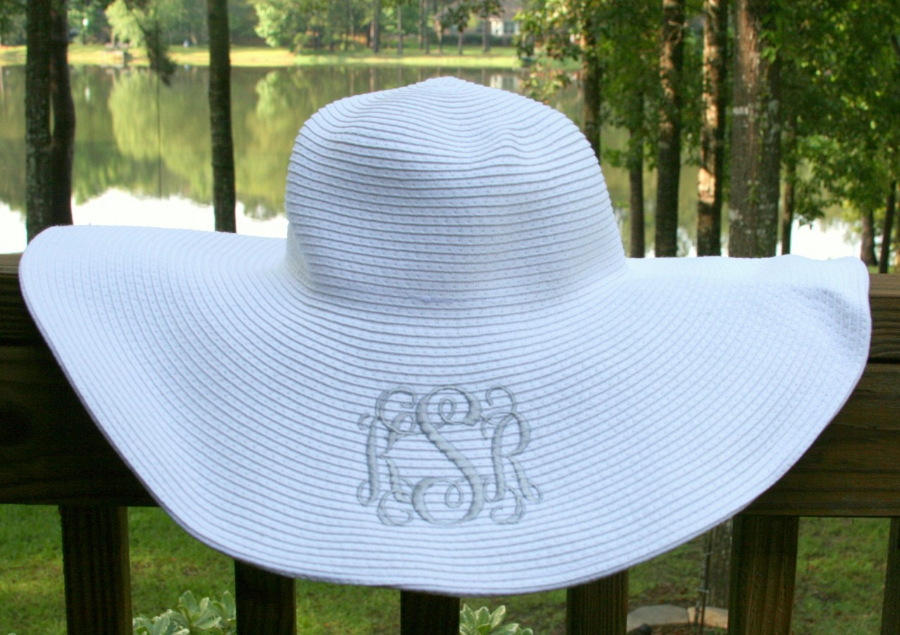 Monogrammed Floppy Wide Sun Hat ~ Summer ~ Beach ~ Derby TinyTulip