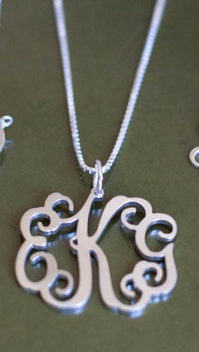 Filigree Monogram Pendant  Necklace ~ Floating Monogram