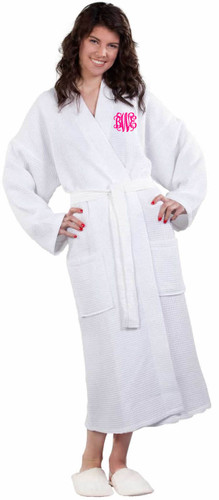 White Waffle Weave Robe with Hot Pink Interlocking Font