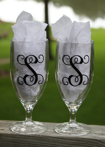 Acrylic Monogrammed Water Glasses Black Interlocking Font