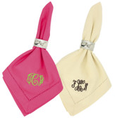 Monogrammed Hemstitch Dinner Napkins~ Set of 2  - www.tinytulip.com Hot Pink or Ivory