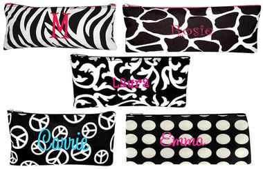 Monogrammed Pencil Pouch Case ~ Damask, Peace, Zebra, Polka Dot, Giraffe