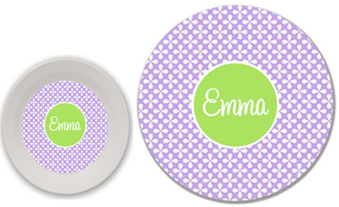 Lavender Clover Pattern with Lime Green Solid Circle  Cursive Font