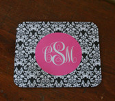 Monogram Mousepad    www.tinytulip.com Black Damask Pattern with Hot Pink Solid Circle Emma FOnt