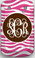 Monogrammed Phone Cover iphone blackberry samsung www.tinytulip.com Hot Pink Zebra Pattern with Brown Solid Circle Interlocking Font