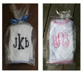 Monogrammed Seersucker Trim Burp Cloth & Bib Set - www.tinytulip.com