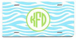 Personalized License Plate~ Monogrammed - www.tinytulip.com Baby Blue Zebra Pattern with Hollow Circle Lime Green Circle Font