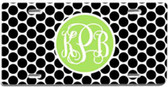 Personalized License Plate~ Monogrammed - www.tinytulip.com Black Polka Dot Pattern with Solid Circle Lime Green Interlocking Font