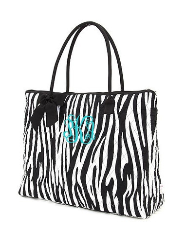 Monogrammed Zebra Quilted Tote  www.tinytulip.com Black Trim Turquoise Interlocking Font