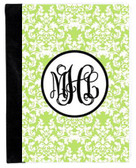 Monogrammed iPad 2 Folding Portfolio Book Case  www.tinytulip.com Lime Green Damask Pattern with Hollow Circle Black Interlocking Font