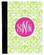 Monogrammed iPad 2 Folding Portfolio Book Case  www.tinytulip.com Lime Green Damask Pattern with Solid Circle Hot Pink Emma Script Font