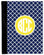 Monogrammed iPad 2 Folding Portfolio Book Case  www.tinytulip.com Navy Tiles Pattern with Solid Circle Yellow Circle Font