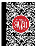 Monogrammed Portfolio Notebook Pad  www.tinytulip.com Black Damask Pattern with Solid Circle Red Interlocking Font