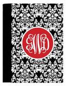 Monogrammed Portfolio Notebook Pad  www.tinytulip.com Black Damask Pattern with Solid Circle Red Interlocking Font