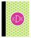 Monogrammed Portfolio Notebook Pad  www.tinytulip.com Lime Green Polka Dot Pattern with Solid Circle Hot Pink Blake Font